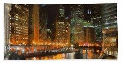 Chicago At Night Beach Towel