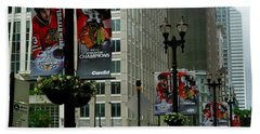 Chicago Blackhawk Flags Beach Towel by Ely Arsha