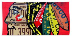 Chicago Blackhawks Hockey Team Vintage Logo Made From Old Recycled Illinois License Plates Red Beach Towel by Design Turnpike