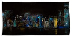 Chicago City Scene Beach Towel by Michele Carter