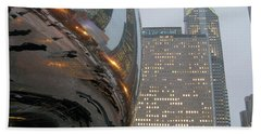 Beach Towel featuring the photograph Chicago Cloud Gate. Reflections by Ausra Huntington nee Paulauskaite