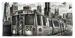 Chicago Cta Train Beach Towel