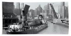 Beach Towel featuring the photograph Chicago Draw Bridge 1941 by Daniel Hagerman