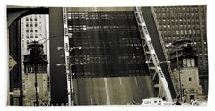 Old Chicago Draw Bridge - Vintage Photo Art Print Beach Towel