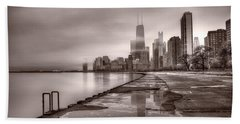 Chicago Foggy Lakefront Bw Beach Sheet by Steve Gadomski