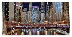 Chicago Full City View Beach Towel by Frozen in Time Fine Art Photography