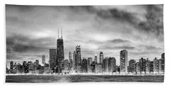 Chicago Gotham City Skyline Black And White Panorama Beach Towel by Christopher Arndt