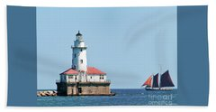 Chicago Harbor Lighthouse And A Tall Ship Beach Towel