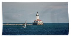Chicago Harbor Lighthouse Beach Sheet by John Black