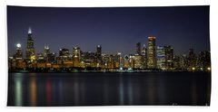 Chicago In Blue Beach Towel by Andrea Silies