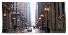 Chicago In The Rain Beach Towel