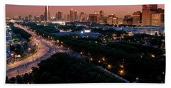 Chicago Independence Day At Night Beach Towel