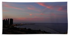 Chicago Lakefront At Sunset Beach Towel by Michael Bessler