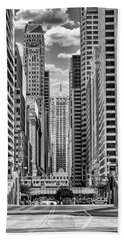 Beach Towel featuring the photograph Chicago Lasalle Street Black And White by Christopher Arndt