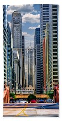 Beach Towel featuring the painting Chicago Lasalle Street by Christopher Arndt