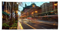Chicago Lights Hustle Bustle Beach Towel