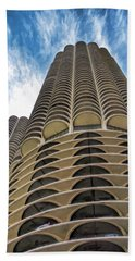Beach Towel featuring the painting Chicago Marina Towers by Christopher Arndt