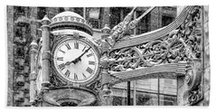 Beach Towel featuring the photograph Chicago Marshall Field State Street Clock Black And White by Christopher Arndt