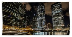 Chicago River And Night Skyline Beach Towel