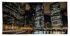 Chicago River And Night Skyline Beach Sheet