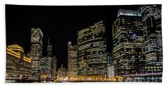Chicago Night Skyline From Wolf Point Beach Towel