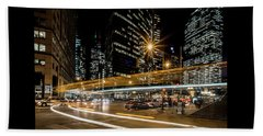 Chicago Nighttime Time Exposure Beach Towel