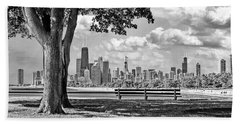 Beach Towel featuring the photograph Chicago North Skyline Park Black And White by Christopher Arndt