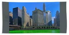 Chicago On St. Patrick's Day Beach Towel