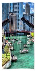 Beach Towel featuring the painting Chicago River Boat Migration by Christopher Arndt