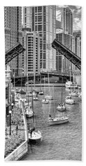 Beach Towel featuring the photograph Chicago River Boat Migration In Black And White by Christopher Arndt