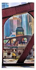 Beach Towel featuring the painting Chicago River Bridge Framed by Christopher Arndt