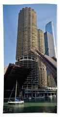 Chicago River Bridge Lift At Marina Towers Beach Towel