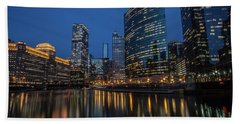 Chicago River Reflections At Dusk  Beach Towel