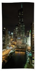 Chicago River Skyline At Night Beach Sheet by John Black