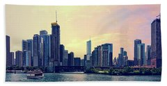 Chicago Skyline And Chicago River Beach Towel