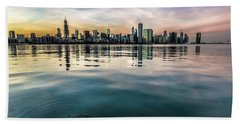 Chicago Skyline And Fish At Dusk Beach Towel