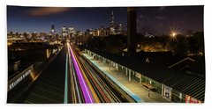 Chicago Skyline And Train Lights Beach Towel