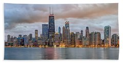 Chicago Skyline At Dusk Beach Towel by James Udall