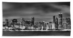 Chicago Skyline At Night Black And White Beach Towel