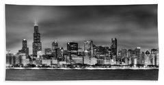Chicago Skyline At Night Black And White Beach Towel