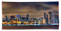Chicago Skyline At Night Panorama Color 1 To 3 Ratio Beach Towel