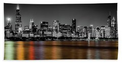 Chicago Skyline - Black And White With Color Reflection Beach Towel