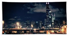 Chicago Skyline Cityscape At Night Beach Towel
