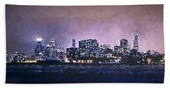 Chicago Skyline From Evanston Beach Towel