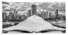 Beach Towel featuring the photograph Chicago Skyline From Navy Pier Black And White by Adam Romanowicz