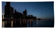 Chicago Skyline From Olive Park  Beach Sheet