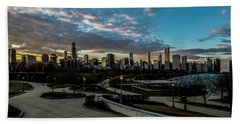 Chicago Skyline From The Museum Campus Beach Sheet