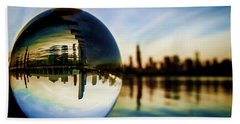Chicago Skyline Though A Glass Ball Beach Towel
