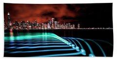 Chicago Skyline With Blue Pixel Stick Light Painting Beach Sheet