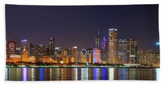 Chicago Skyline With Cubs World Series Lights Night, Chicago, Cook County, Illinois,  Beach Towel by Panoramic Images